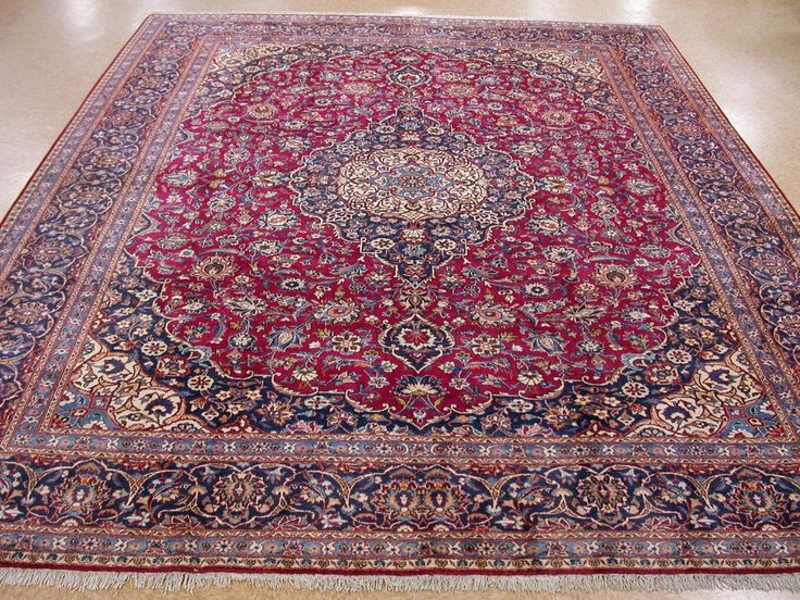 10 8 X 14 1 Persian Kashan Hand Knotted Wool Raspberry Red