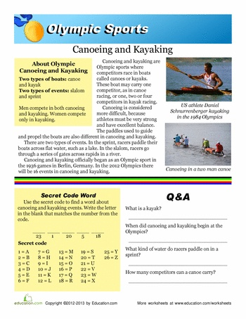 Worksheets: Olympic Canoeing and Kayaking
