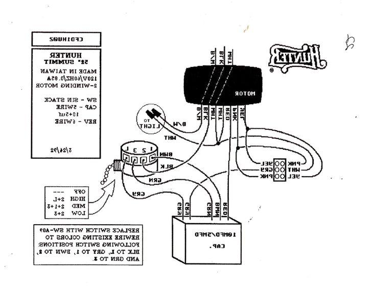 hunter fan wiring diagram light
