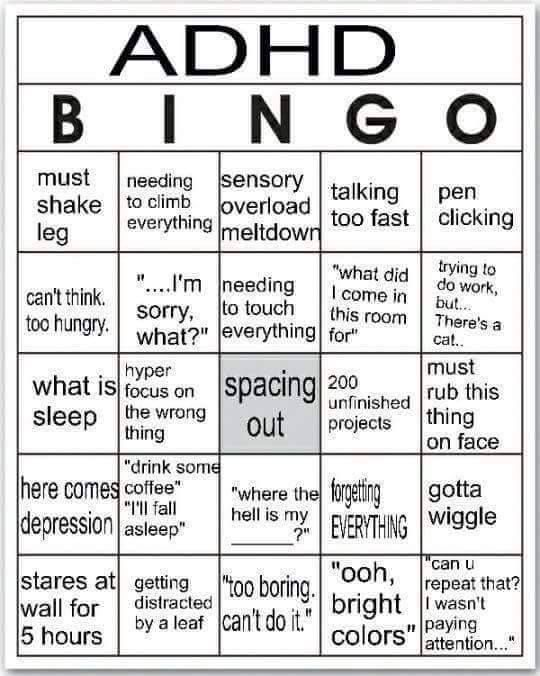 ADHD Bingo!!