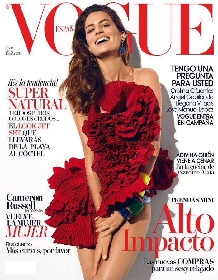 Cameron Russell en portada de Vogue Junio: vuelve la mujer mujer © Fotografía: Miguel Reveriego / Realización: Belén Antolín