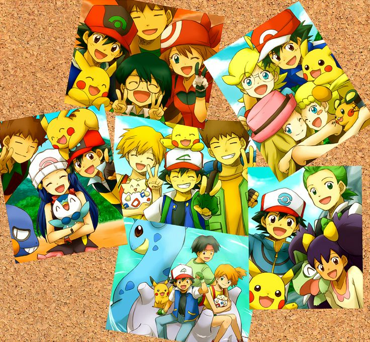 Ash and Pikachu with all of their friends ^_^ ^.^ ♡