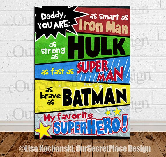 PRINTABLE Daddy You Are My Favorite Superhero Card Super Dad Gift for Dad Father's Day Gift Fathers Day Gift Superhero Sign Super hero sign