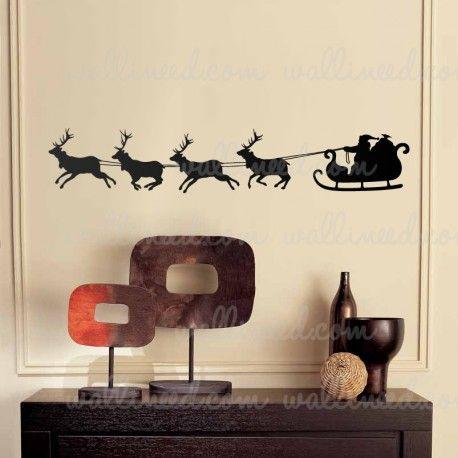 Christmas Santa Sleigh Reindeer Wall Decal Christmas Decoration