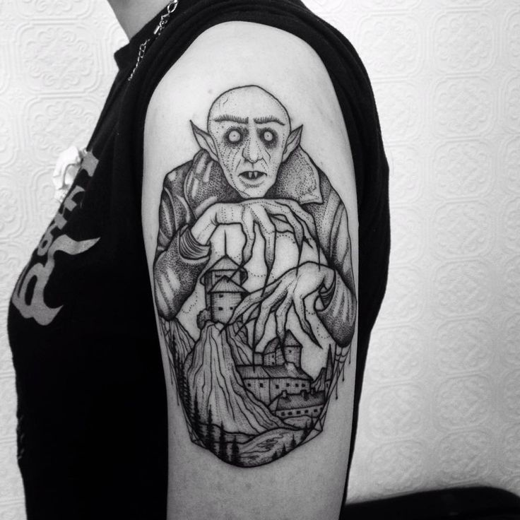 Nosferatu by Anka Lavriv (@ anka.tattoo) #etching#ladytattooers#llustration#details#stippling#linework#dotwork#texture#blacktattoos#blackwork#blackworkers#blacktattoos#blackworkerssubmission#tattooart#tttism#brooklyntattoo#greenpointtattoo #tatsoul #dankubin #nosferatu