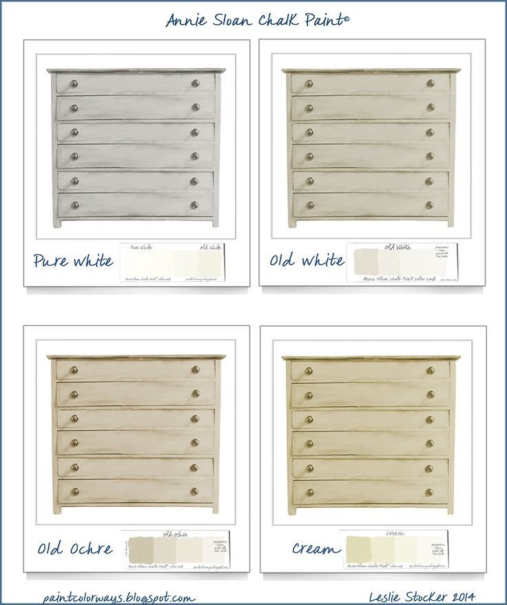 COLORWAYS   Annie Sloan Chalk Paint color options for chest of drawers.. Pure White, Old White, Old Ochre, Cream