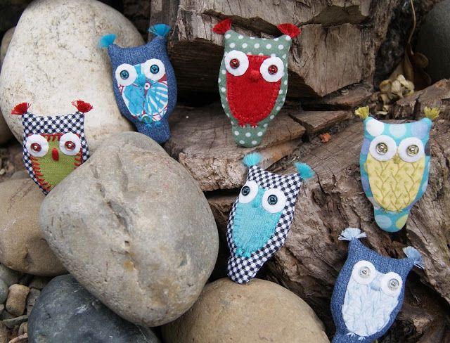 Лавандовый домик: Текстильные украшения - броши. Совы текстильные.