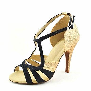 Customizable Women's Dance Shoes Latin/Salsa Satin Customized Heel Black/Blue/Yellow/Pink/Purple/Red/White/Fuchsia 2016 - $34.99