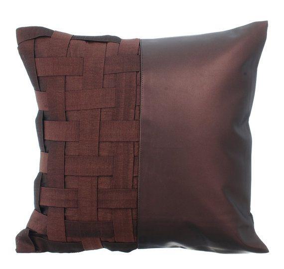 Almohada decorativa cubierta acento almohada sofá sofá almohada caja 16 x 16 marrón metálico imitación cuero almohadilla marrón N medio