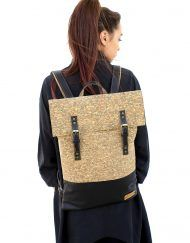 Unisex flat mosaic cork and black leather backpack