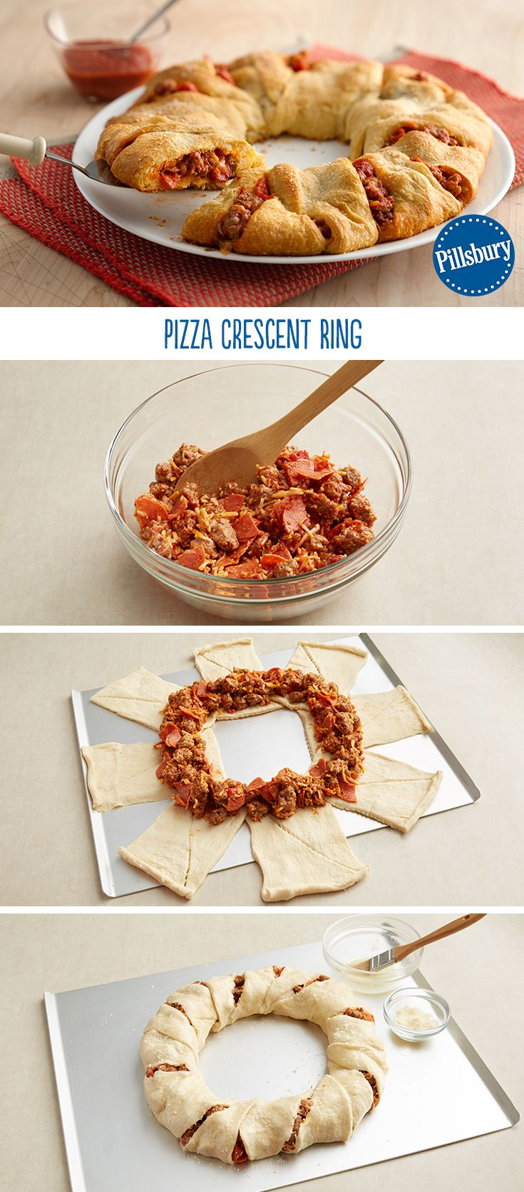 You'll hear a hoot here and a holler there from your kids after eating this fun recipe! Pizza night now has an easy twist with a crescent ring. Mix pepperoni, sausage, cheese and pizza sauce and fill your crescents. It's guaranteed to be a tried-and-true one for your weeknight dinner.