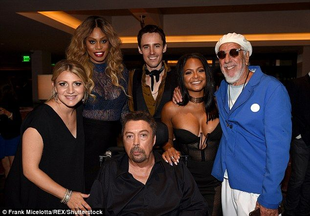 Coming together:Reeve Carney, Lou Adler, Annaleigh Ashford, Laverne Cox and Christina seemed pleased to all be together at the…