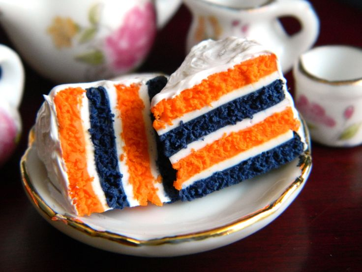 Football Cake Slice Charm Blue and Orange by OhLuckyCharm on Etsy