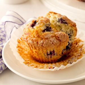Jumbo Blueberry Muffins Recipe from Taste of Home -- shared by Jackie Hannahs of Brethren, Michigan