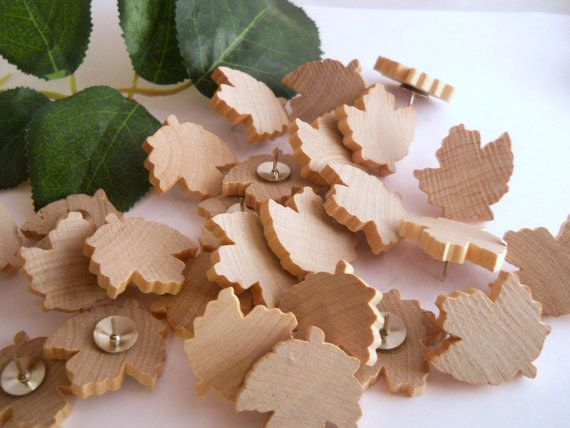 Wood Maple Leaf Thumb Tacks | Community Post: 23 Ways To Fill Your Home With Canada