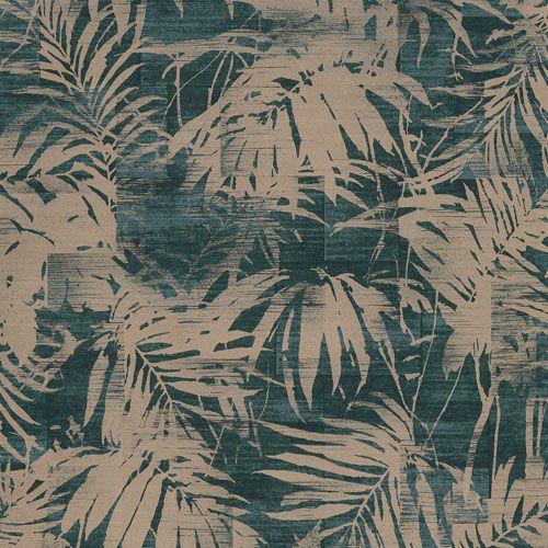 Tapet med läckra palmblad i koppar på blå botten från kollektionen Allegro, ALL101. Klicka för fler inspirerande tapeter för ditt hem!