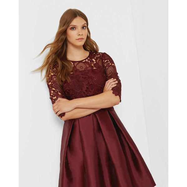 Ted Baker Lace bodice dress Oxblood ($207) ❤ liked on Polyvore featuring dresses, oxblood, red floral print dress, lacy red dress, oxblood dress, red dress and red lace dress