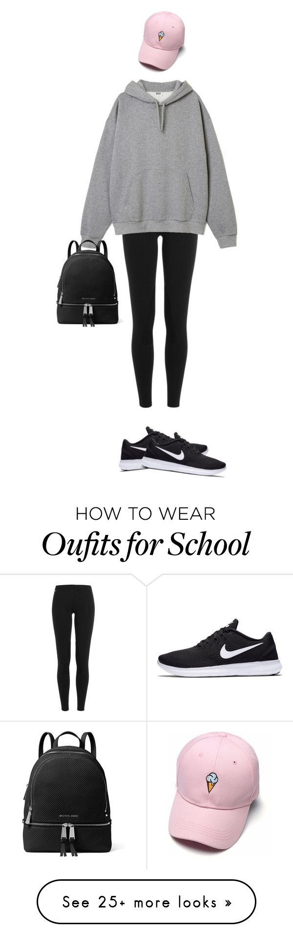 """""""Comfy school"""" by poltergeistii on Polyvore featuring Polo Ralph Lauren, NIKE and MICHAEL Michael Kors"""