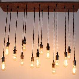 Repurposed Oak Industrial Hanging Light with Edison by urbanchandy - eclectic - ceiling lighting - Atypical Type A