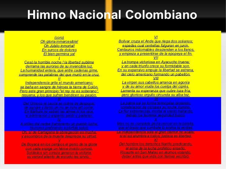 Resultado de imagen para el himno nacional de colombia en letra grande y completo