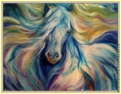 Картина из шерсти  `Радужный Конь` Новый год 2014. Картина выложена сухой цветной овечьей шерстью под стекло. Прекрасное дополнение к интерьеру. Лошадь - символ жизни, духовного просветления и удачи в 2014 году. В христианском искусстве конь выступает символом Солнца,…