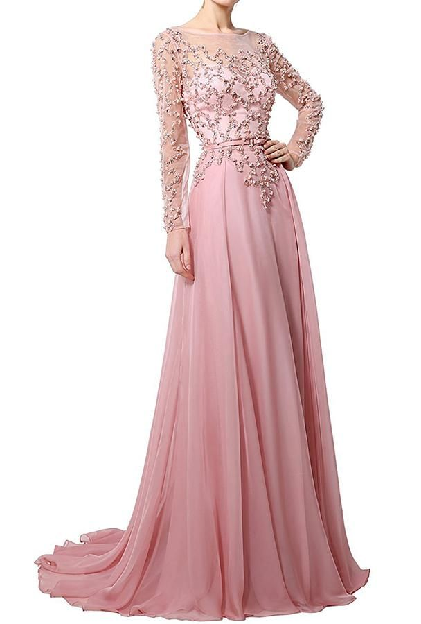 Beaded Chiffon Full Sleeves Prom Dress Sexy See Through Evening Dress PD019 Prom  Dresses With Sleeves 1d38c304724d