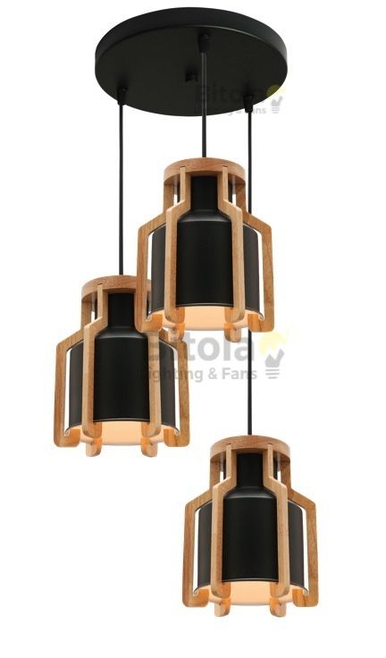 CUSTOM 3 light pendant featuring 3x Mercator Fiesta Black/Timber pendant lights installed onto a single round black ceiling canopy to form a cluster. MG5431