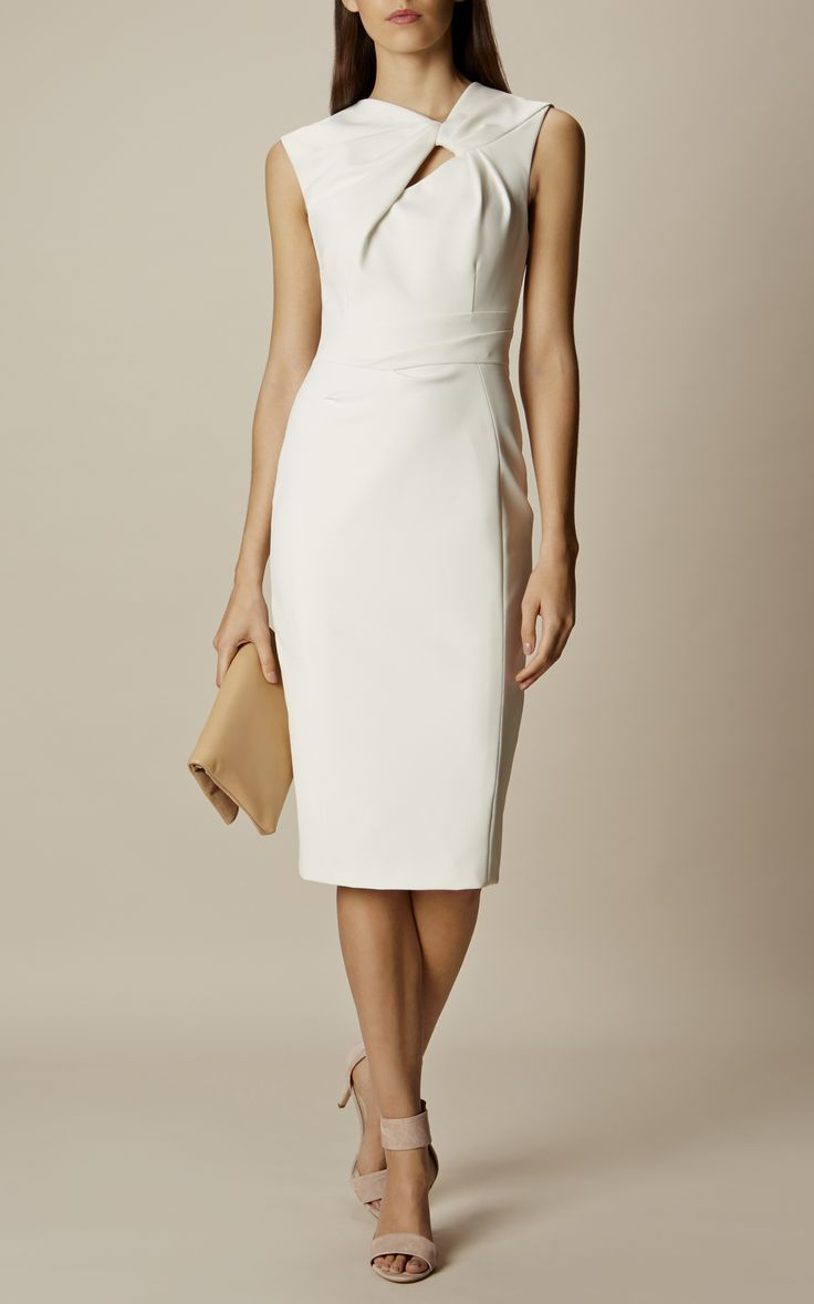 Karen Millen, KNOT DETAIL PENCIL DRESS Ivory