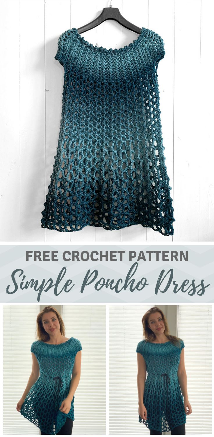 Crochet Poncho Dress – free crochet poncho pattern by
