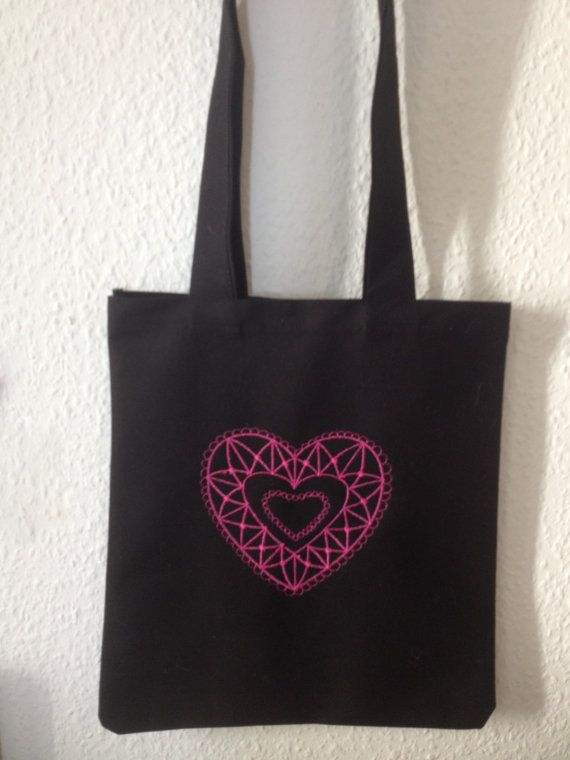 Pink Heart Lace Embroidery Tote bag by BonitoFracaso on Etsy #hearth #etsy @Etsy  #black #pink hearth