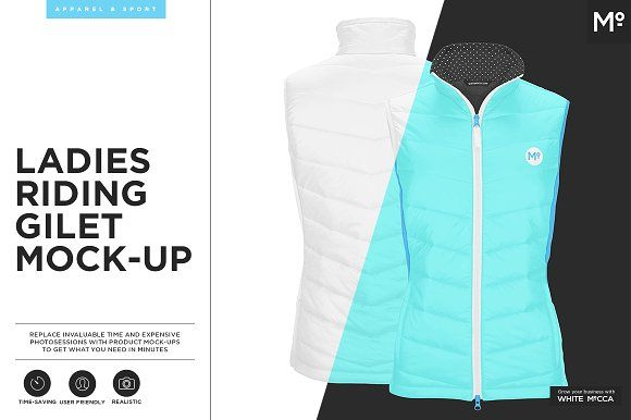 Ladies Riding Gilet Mock-up by Mocca2Go/mesmeriseme on @creativemarket