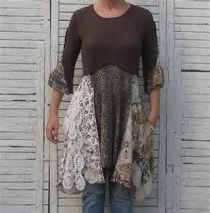 Upcycled Tunic Upcycled Clothing Wearable Art Women Earth