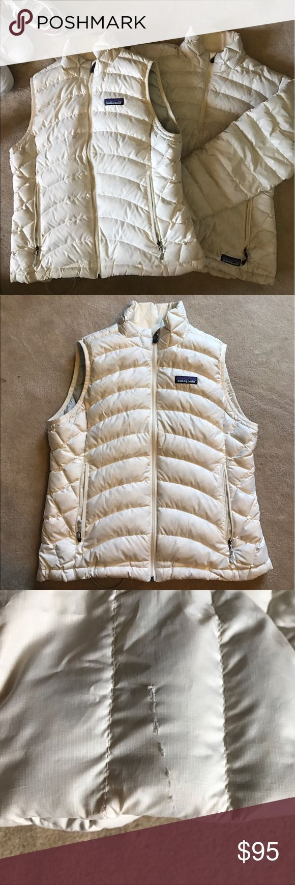 Patagonia vest and jacket bundle Great condition except the jacket does have a small tear in the upper sleeve but not even noticeable and no feathers coming out. Separate listings available but want to sell them together so that's why I'm listing this lower FINAL SALE Patagonia Jackets & Coats Puffers