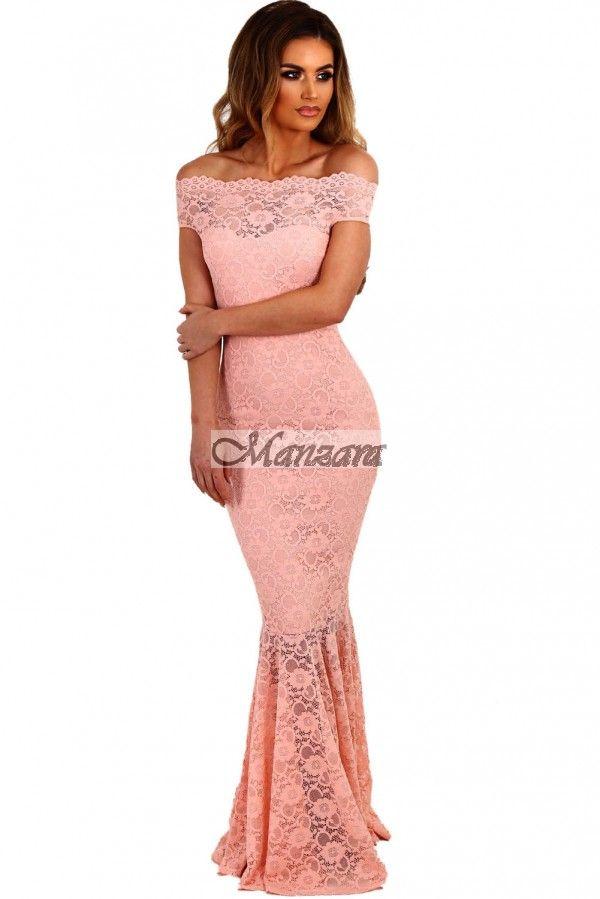 05a6284705 ESTÉLYI RUHA CALYNDA csipkével rózsaszín - Ruhák | Esküvő | Estélyi ...