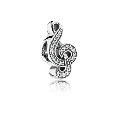 Add some sweet music to your bracelet with PANDORA's decorative treble clef sterling silver charm, embellished with cubic zirconia. It is the perfect icon for passionate musicians and music lovers alike. #PANDORA #PANDORAcharm