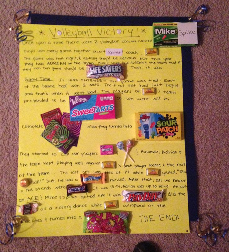 Candy board for Volleyball Senior Night. Completely made up story that I thought of for my baby brother (: Go #4! Go Trojans! -Airica