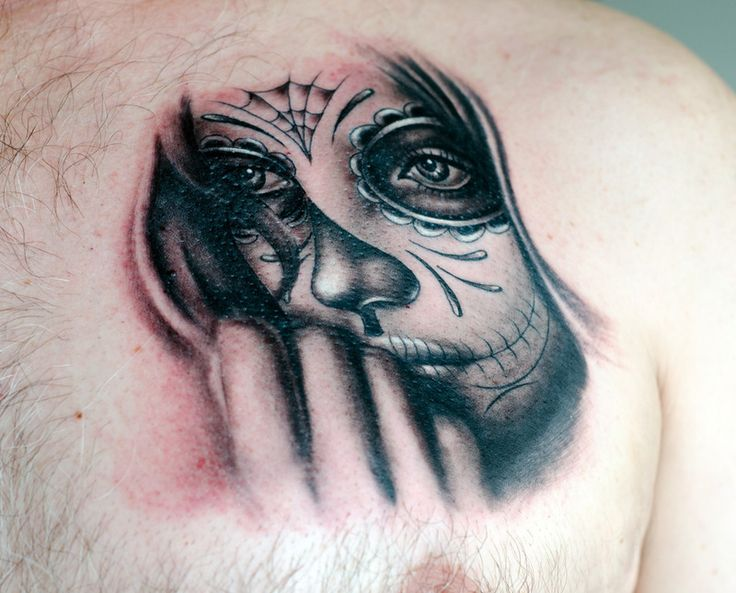 maybe something like this for cover up on my forearm? Day of the dead tattoo