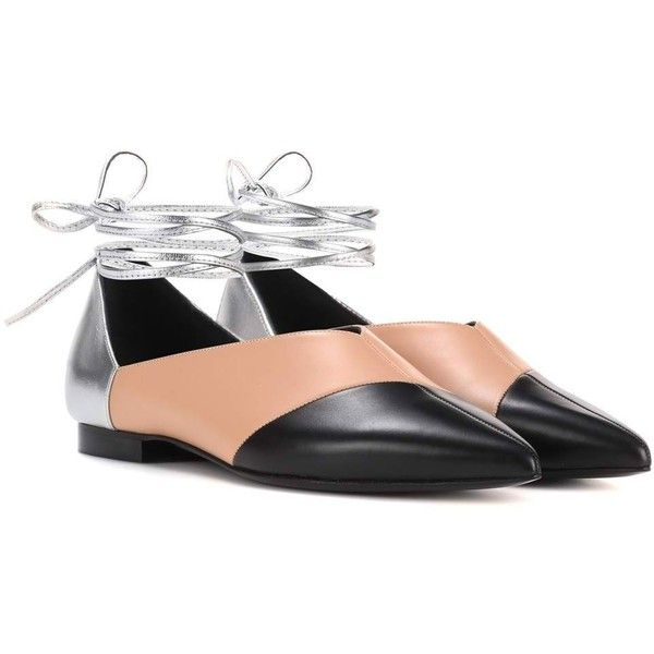 Pierre Hardy Cut Leather Ballerinas (5,275 GTQ) ❤ liked on Polyvore featuring shoes, flats, multicoloured, colorful shoes, ballerina shoes, ballerina flats, colorful flats and multi colored shoes