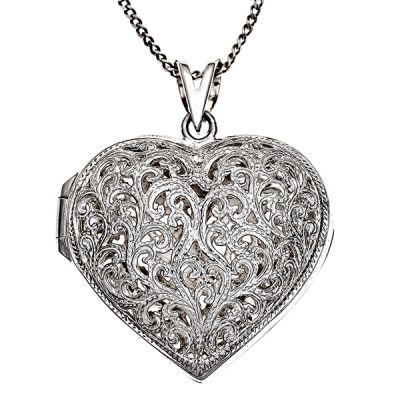 Locket - AJOURE HEART - Sterling Silver or 9ct Gold.  A puffed heart locket made with solid sterling silver or 9ct gold lace filigree.  Both the front and back of this locket feature the open filigree work and it can be used as a perfume locket or to keep little mementos and treasures close at heart.