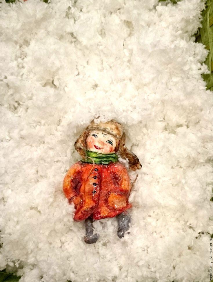 Купить Снежный мальчик - ярко-красный, елочная игрушка, Новый Год, мальчик, задорный, радостный