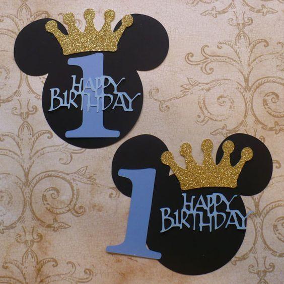 BRICOLAGE Mickey Mouse bleu joyeux anniversaire 1 Prince or paillettes Couronne pièce maîtresse bébé garçon bricolage faire votre propre pièce maîtresse le fête anniversaire