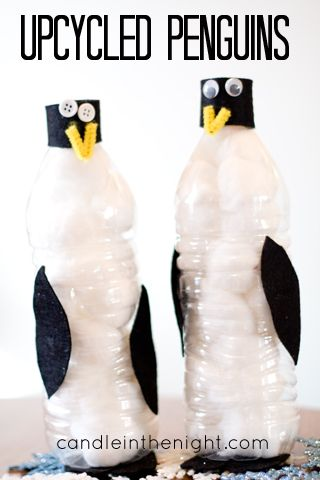 Look at this cute penguin craft! Made from upcycled materials!