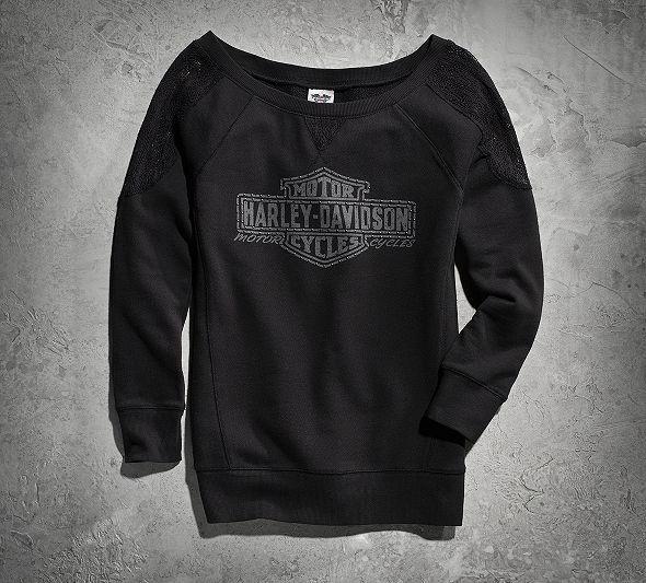 Women's Crochet Lace-Sleeve Sweatshirt   Sweatshirts   Official Harley-Davidson Online Store