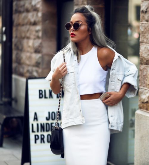 All white, light denim jacket, sunglasses, red lips