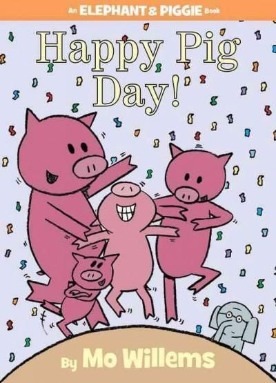 Gerald is careful. Piggie is not. Piggie cannot help smiling. Gerald can. Gerald worries so that Piggie does not have to. Gerald and Piggie are best friends. In Happy Pig Day! Piggie celebrates her fa