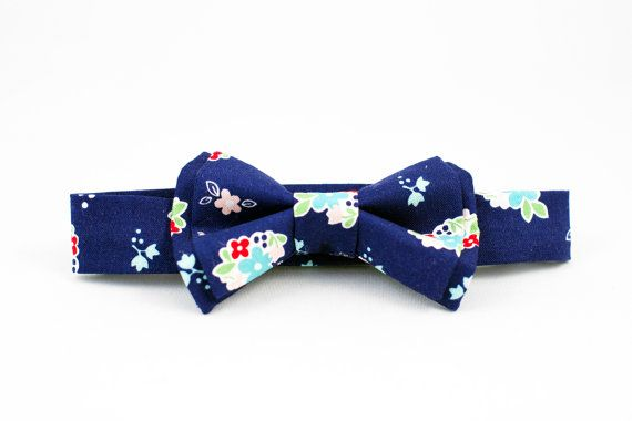 Navy and Red Floral Boys Bow Tie Adjustable
