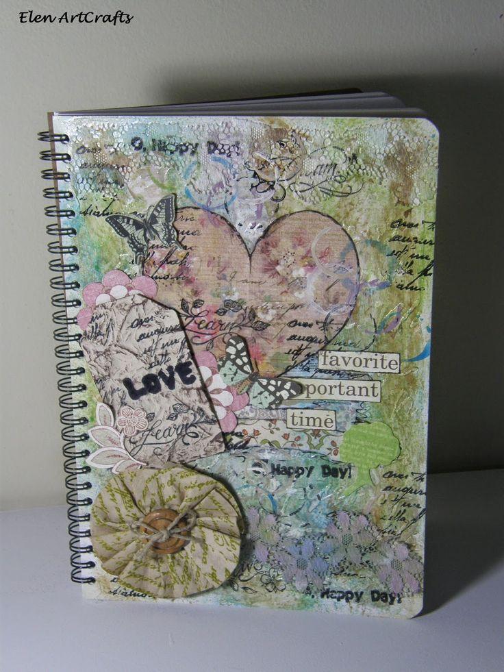 Elen ArtCrafts: Τετράδιο mixed media.../Mixed media notebook...