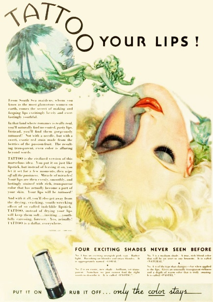 Tattoo your lips with four exciting never before seen shades! #vintage #1930s #makeup #lipstick #ad #beauty