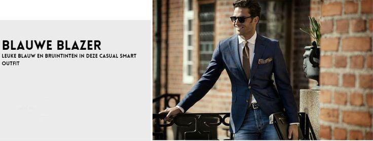 herenlook met een blauwe blazer en pochet