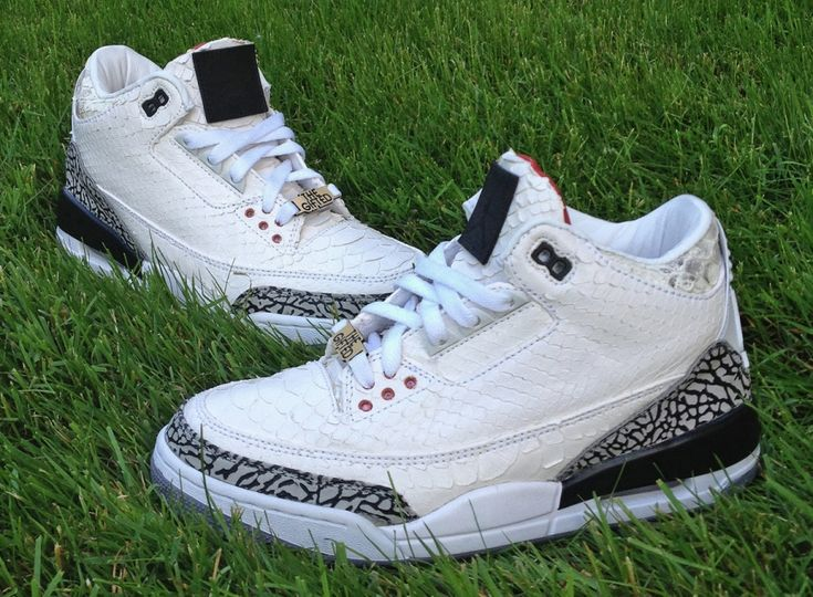 Air Jordan III White Python Customs for Wale by JBF